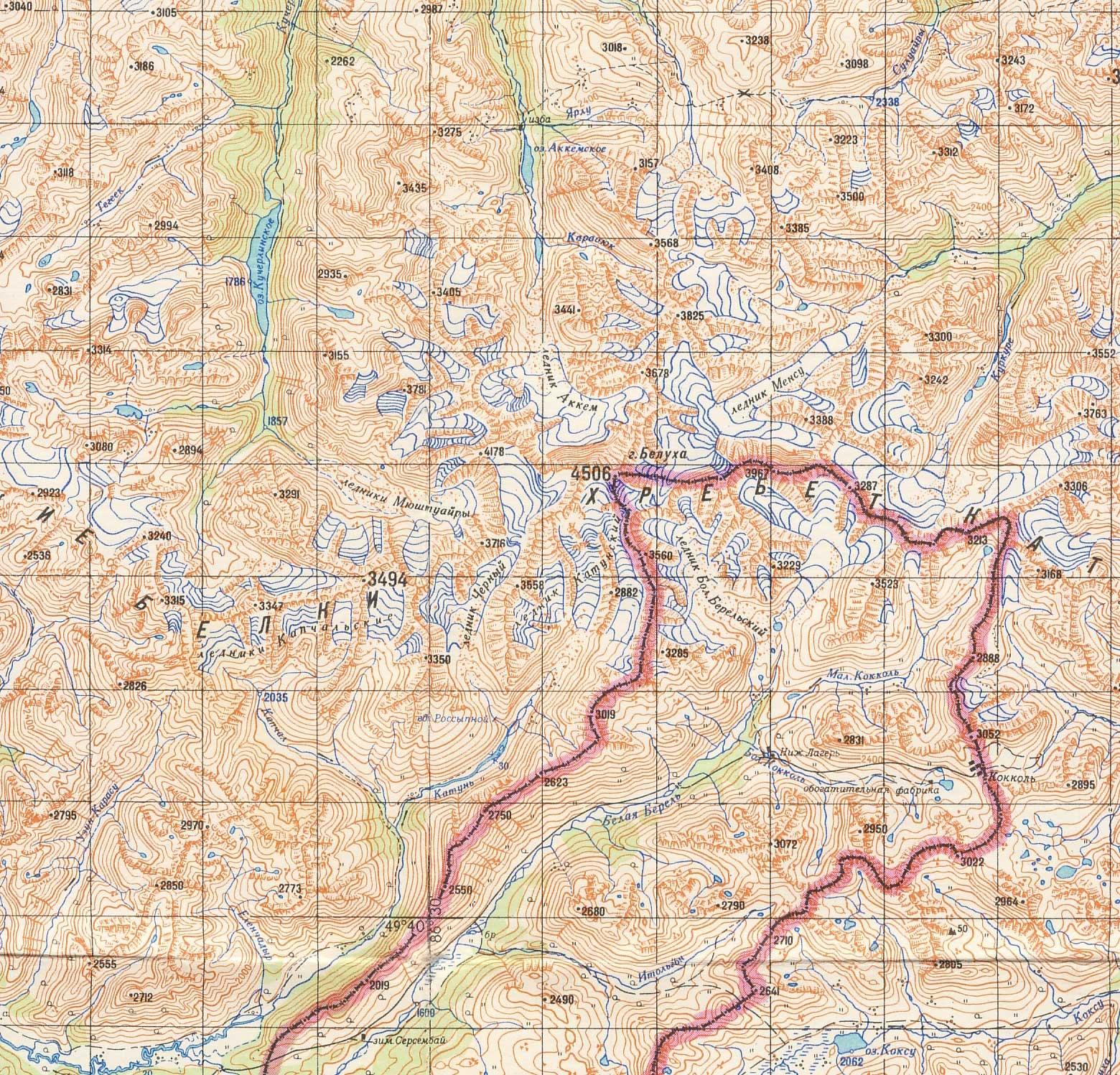 Вершина Белухи. Карта